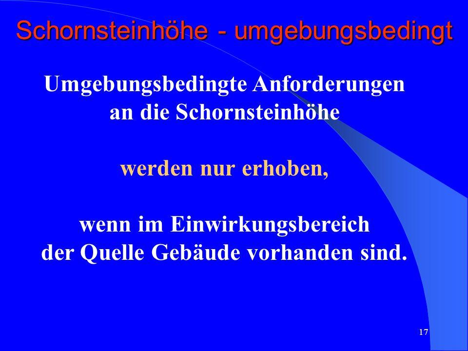 Schornsteinhöhe - umgebungsbedingt