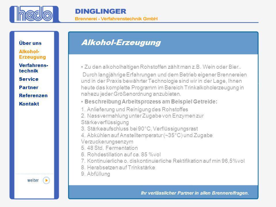 Alkohol-Erzeugung Über uns. Alkohol-Erzeugung. Verfahrens-technik. Service. Partner. Referenzen.