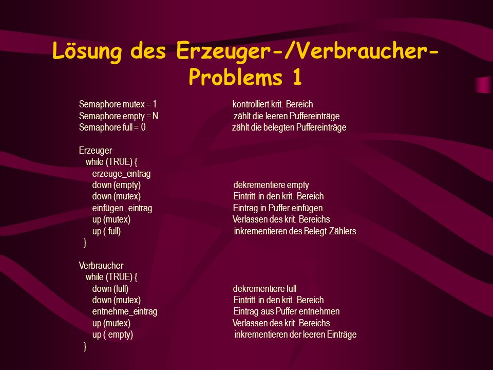 Lösung des Erzeuger-/Verbraucher-Problems 1