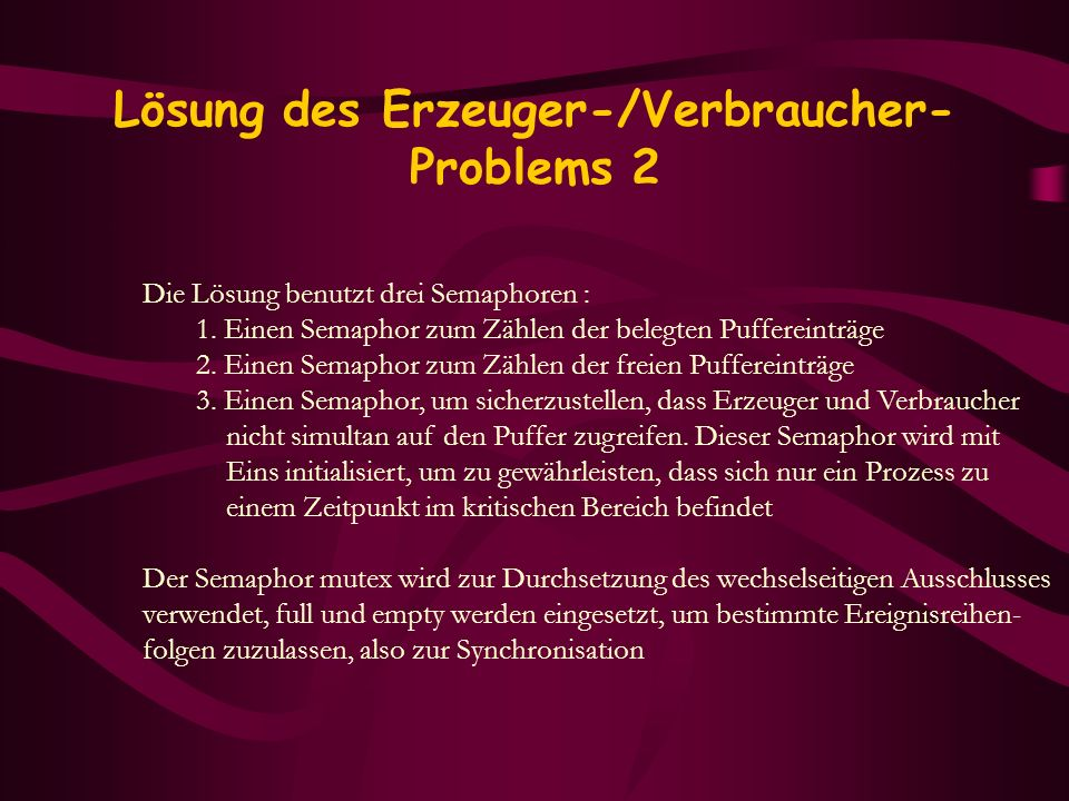 Lösung des Erzeuger-/Verbraucher-Problems 2