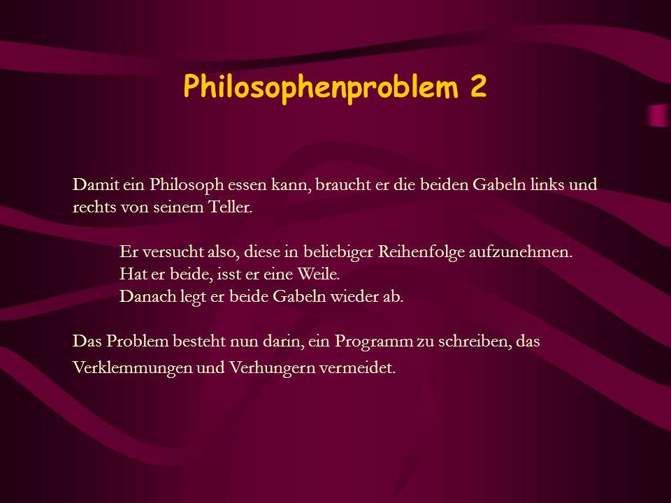 Philosophenproblem 2 Damit ein Philosoph essen kann, braucht er die beiden Gabeln links und. rechts von seinem Teller.