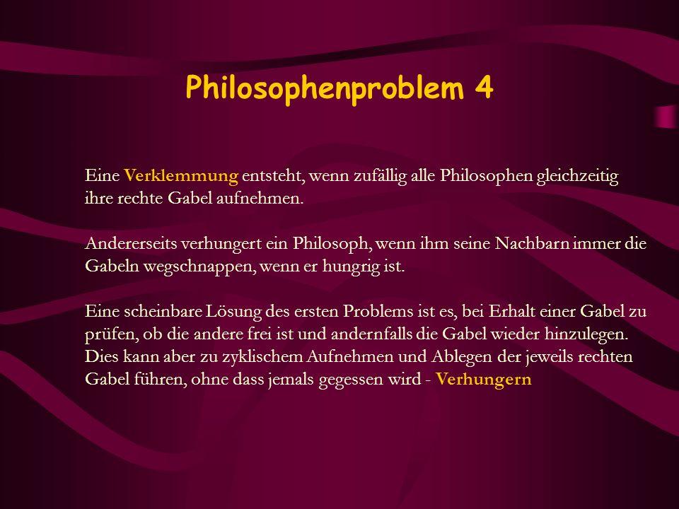 Philosophenproblem 4 Eine Verklemmung entsteht, wenn zufällig alle Philosophen gleichzeitig. ihre rechte Gabel aufnehmen.