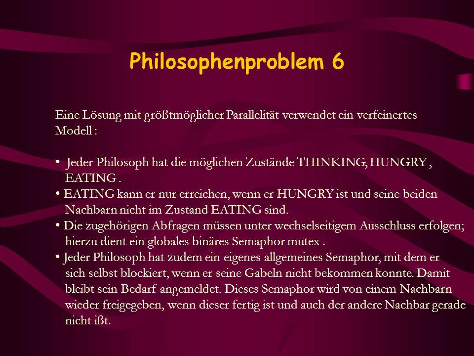Philosophenproblem 6 Eine Lösung mit größtmöglicher Parallelität verwendet ein verfeinertes. Modell :