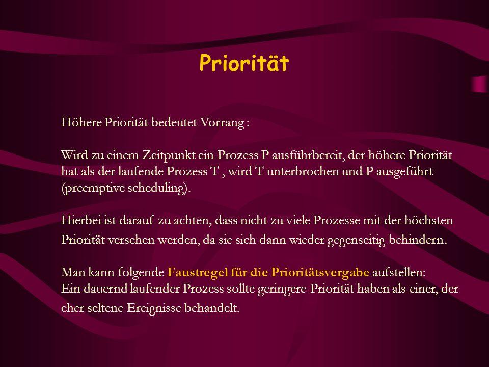 Priorität Höhere Priorität bedeutet Vorrang :