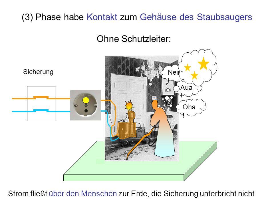 (3) Phase habe Kontakt zum Gehäuse des Staubsaugers