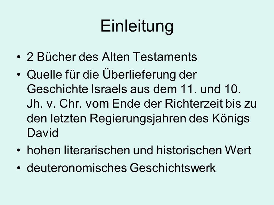 Einleitung 2 Bücher des Alten Testaments