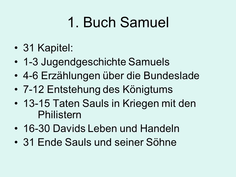 1. Buch Samuel 31 Kapitel: 1-3 Jugendgeschichte Samuels