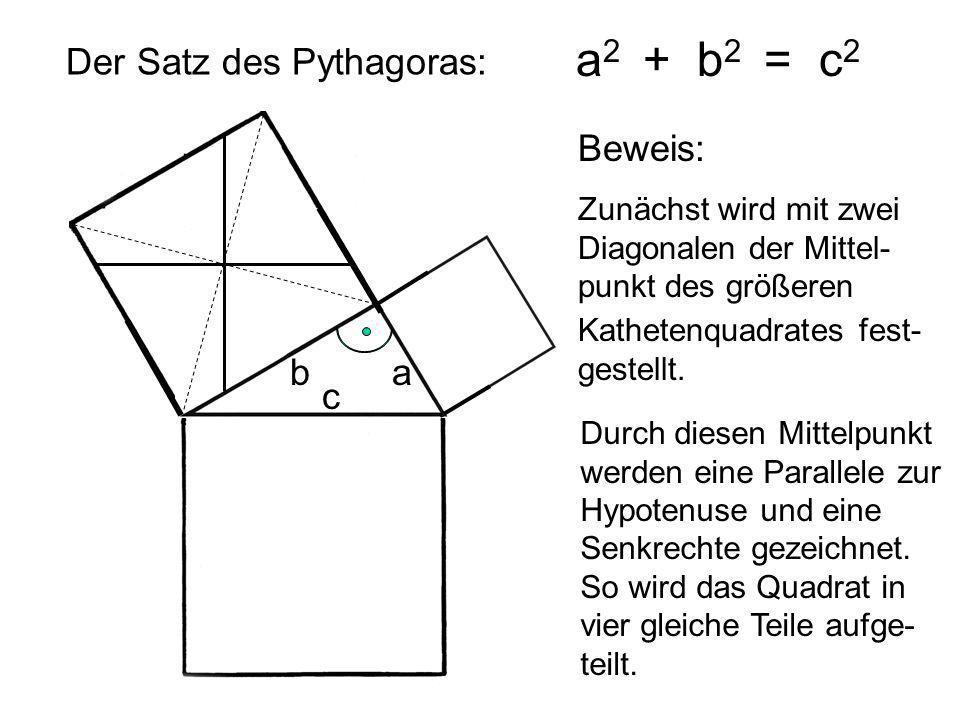 a2 + b2 = c2 Der Satz des Pythagoras: Beweis: b a c