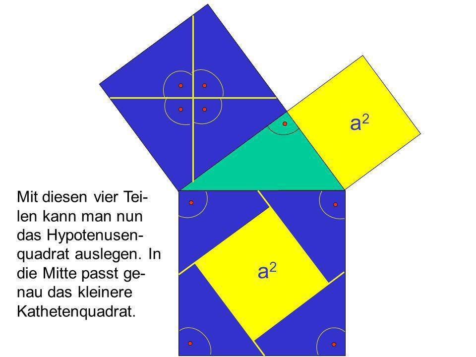 a2 Mit diesen vier Tei-len kann man nun das Hypotenusen-quadrat auslegen. In die Mitte passt ge-nau das kleinere Kathetenquadrat.
