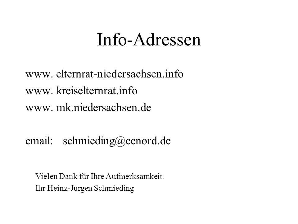 Info-Adressen elternrat-niedersachsen.info www. kreiselternrat.info