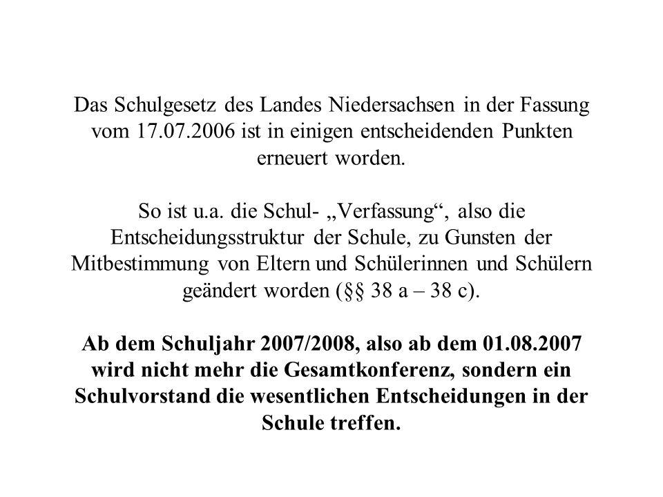 Das Schulgesetz des Landes Niedersachsen in der Fassung vom 17. 07
