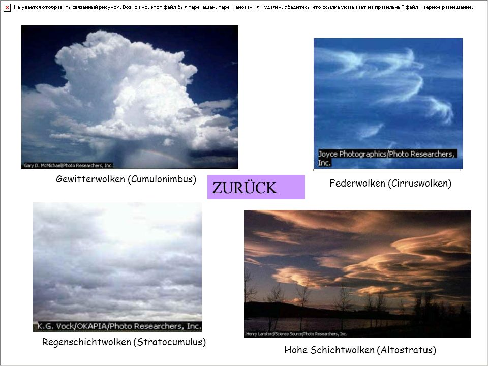 ZURÜCK Gewitterwolken (Cumulonimbus) Federwolken (Cirruswolken)