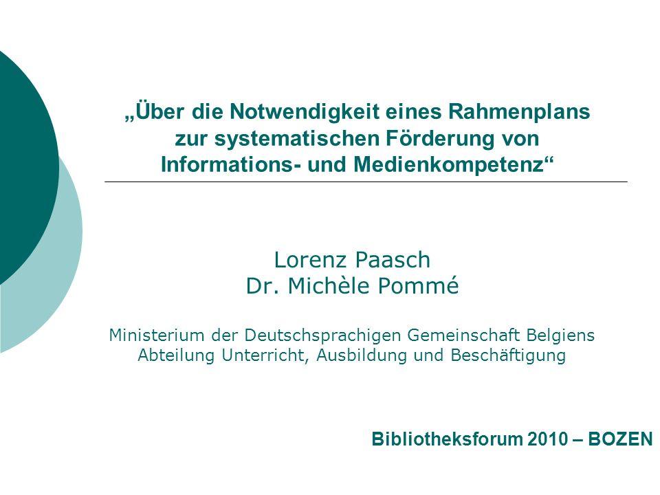 """""""Über die Notwendigkeit eines Rahmenplans zur systematischen Förderung von Informations- und Medienkompetenz"""