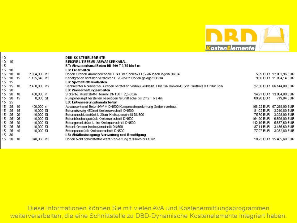 Diese Informationen können Sie mit vielen AVA und Kostenermittlungsprogrammen