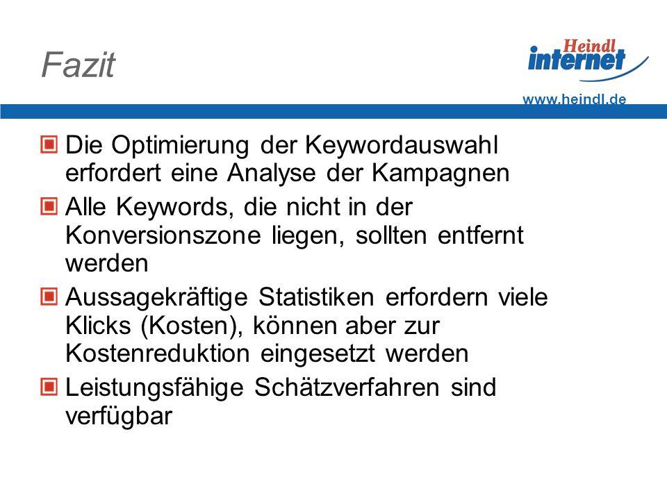 Fazit www.heindl.de. Die Optimierung der Keywordauswahl erfordert eine Analyse der Kampagnen.