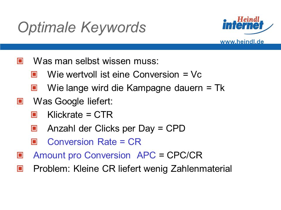 Optimale Keywords Was man selbst wissen muss: