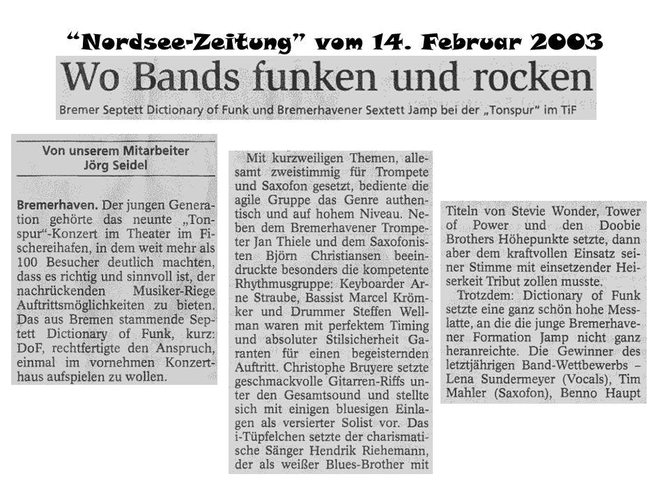 Nordsee-Zeitung vom 14. Februar 2003