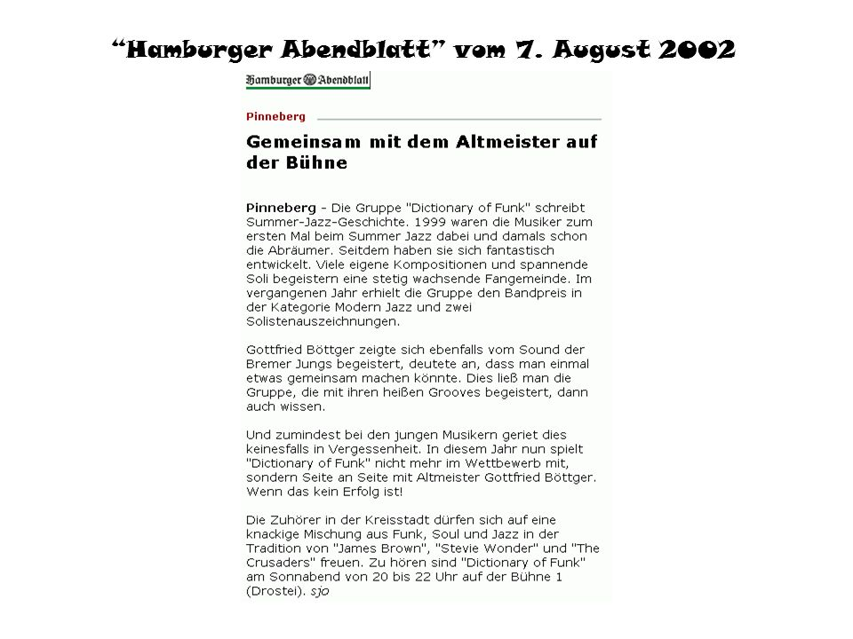 Hamburger Abendblatt vom 7. August 2002
