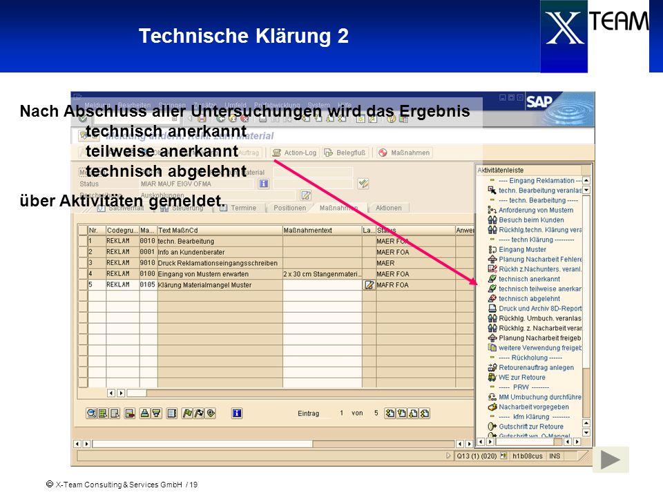 Technische Klärung 2 Nach Abschluss aller Untersuchungen wird das Ergebnis technisch anerkannt teilweise anerkannt technisch abgelehnt.