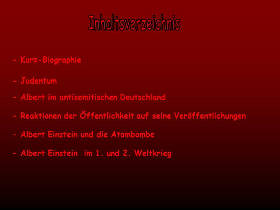 Inhaltsverzeichnis - Kurz-Biographie - Judentum