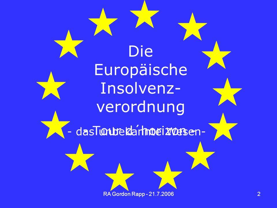 Die Europäische Insolvenz- verordnung