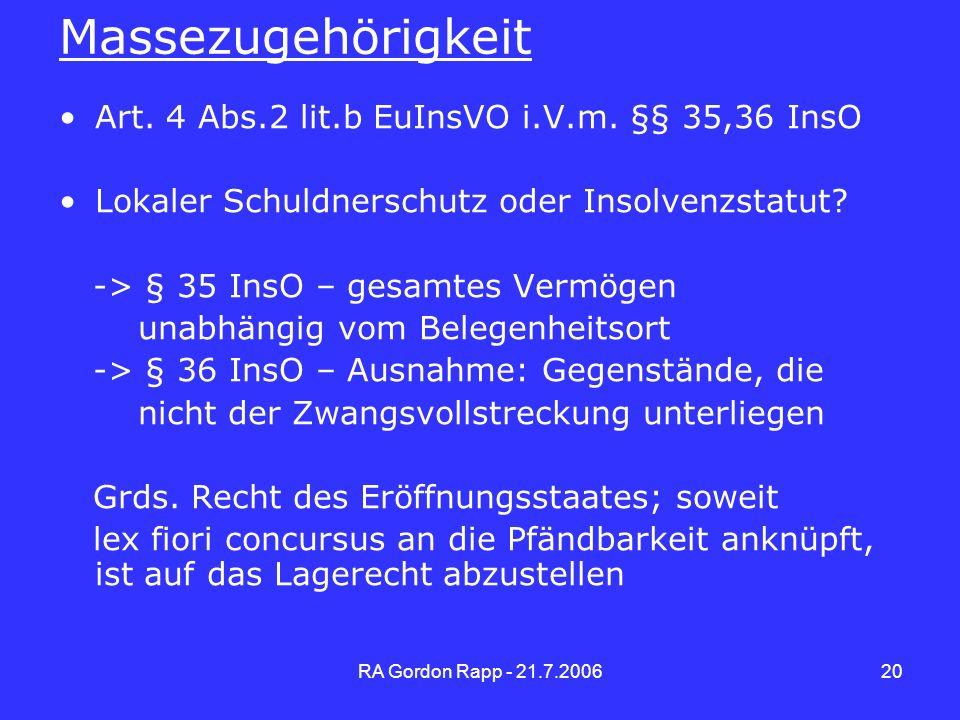Massezugehörigkeit Art. 4 Abs.2 lit.b EuInsVO i.V.m. §§ 35,36 InsO