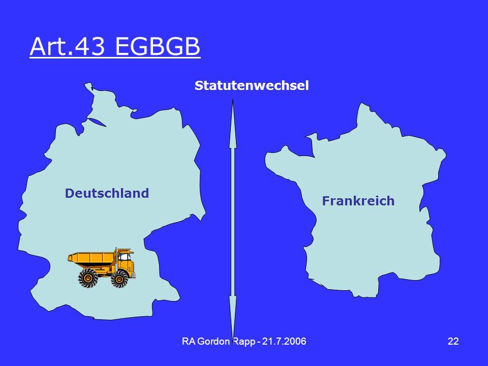 Art.43 EGBGB Statutenwechsel Deutschland Frankreich