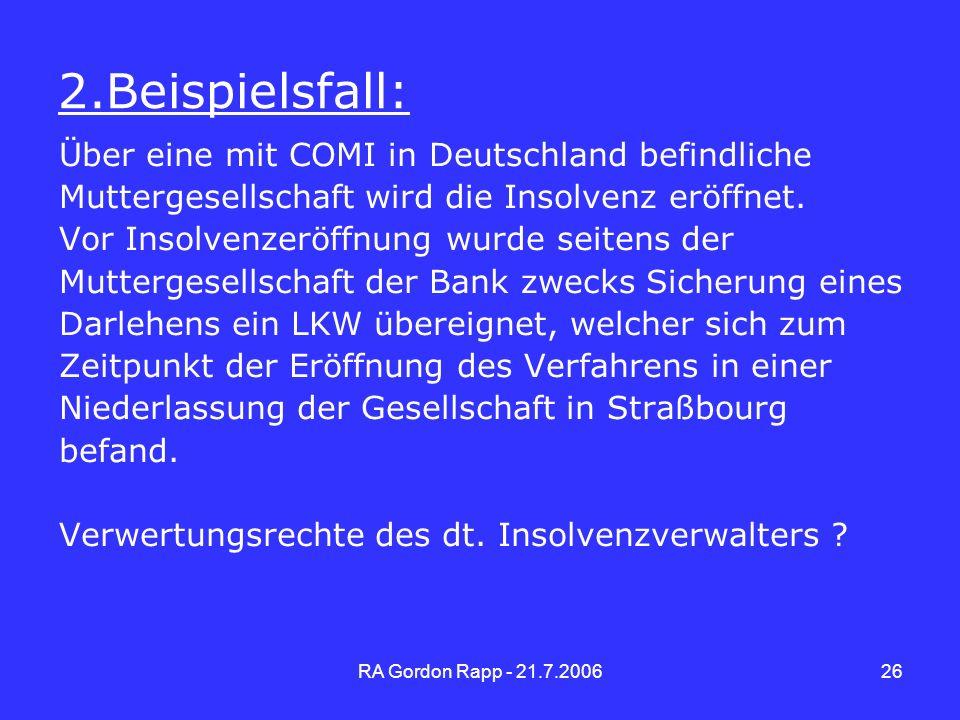 2.Beispielsfall: Über eine mit COMI in Deutschland befindliche