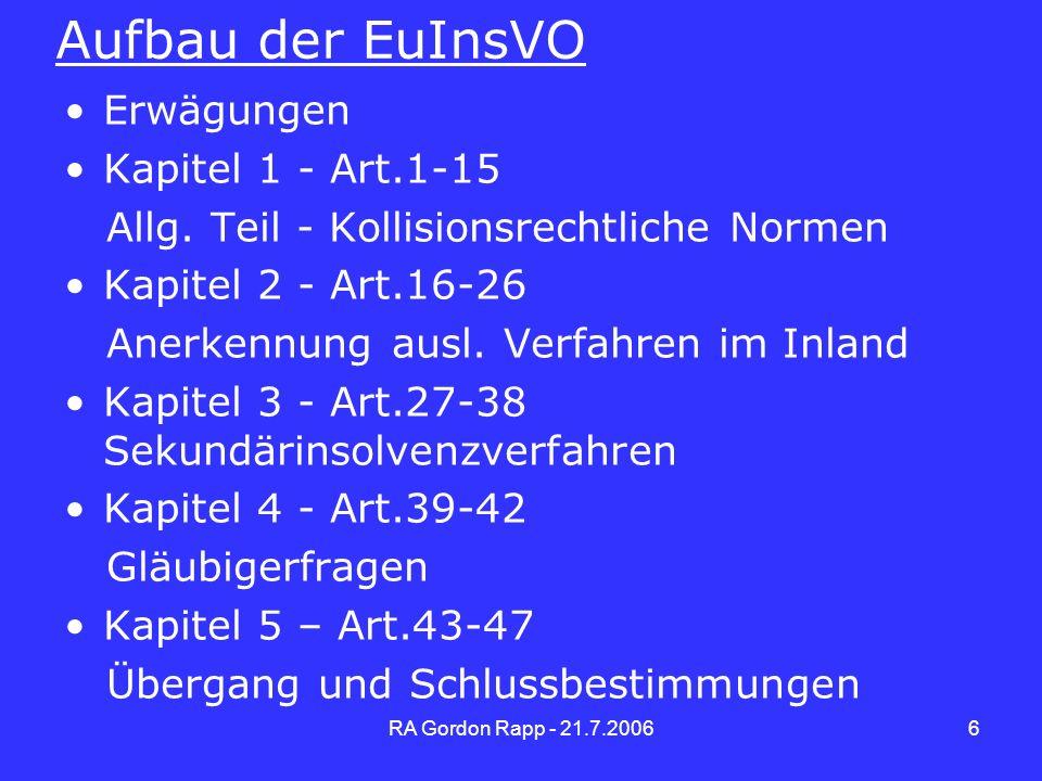 Aufbau der EuInsVO Erwägungen Kapitel 1 - Art.1-15
