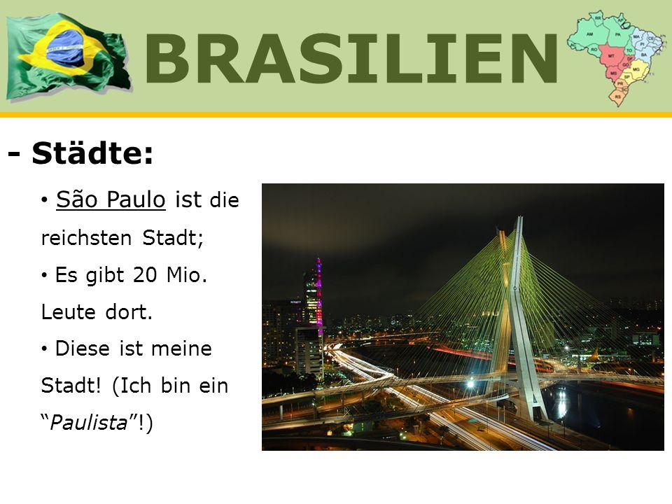 BRASILIEN - Städte: São Paulo ist die reichsten Stadt;