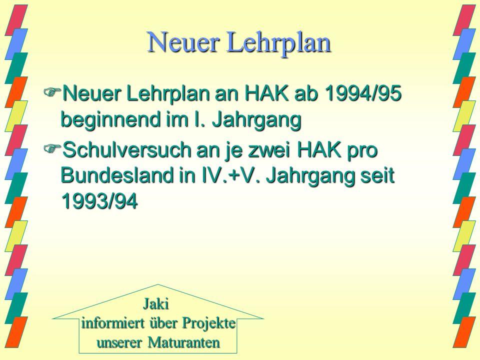 Neuer Lehrplan Neuer Lehrplan an HAK ab 1994/95 beginnend im I.