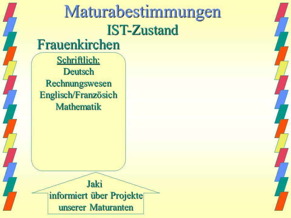 Maturabestimmungen IST-Zustand Frauenkirchen Schriftlich: Deutsch
