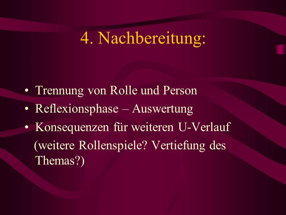4. Nachbereitung: Trennung von Rolle und Person