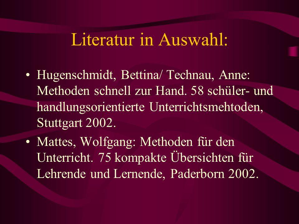 Literatur in Auswahl: