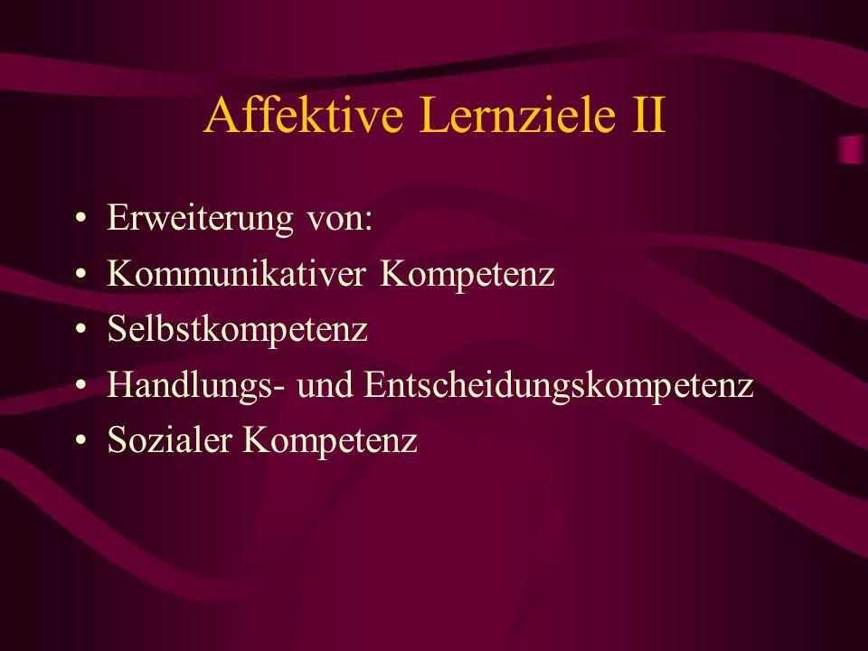 Affektive Lernziele II