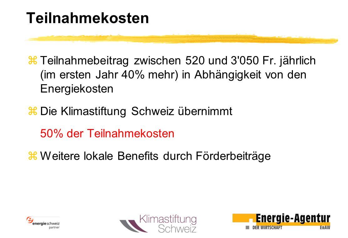 Teilnahmekosten Teilnahmebeitrag zwischen 520 und 3 050 Fr. jährlich (im ersten Jahr 40% mehr) in Abhängigkeit von den Energiekosten.