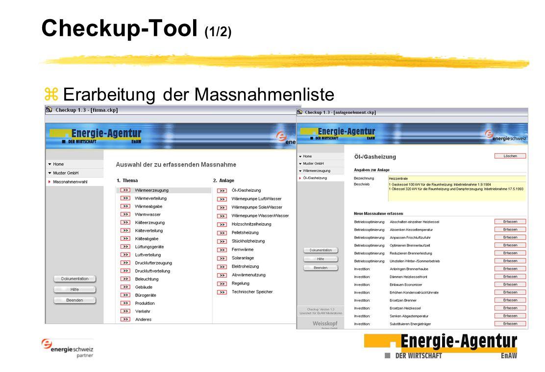 Checkup-Tool (1/2) Erarbeitung der Massnahmenliste