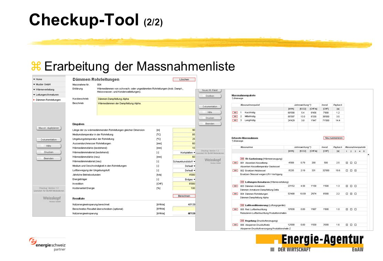 Checkup-Tool (2/2) Erarbeitung der Massnahmenliste
