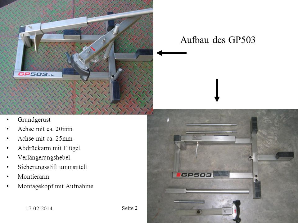 Aufbau des GP503 Grundgerüst Achse mit ca. 20mm Achse mit ca. 25mm