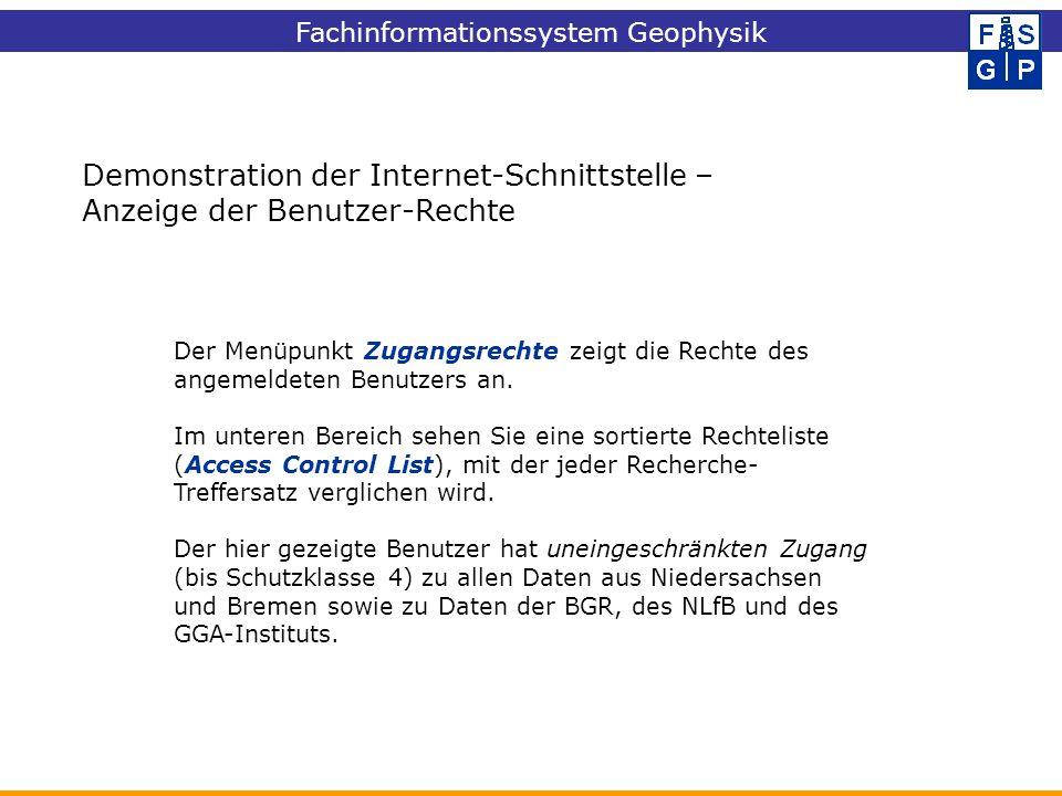Demonstration der Internet-Schnittstelle – Anzeige der Benutzer-Rechte