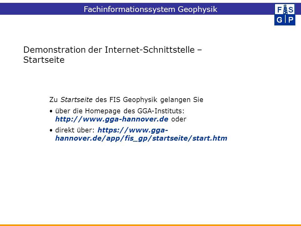 Demonstration der Internet-Schnittstelle – Startseite