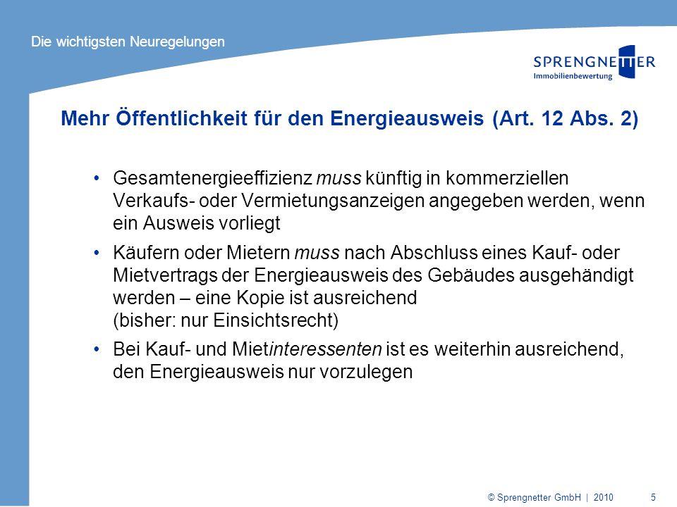 Mehr Öffentlichkeit für den Energieausweis (Art. 12 Abs. 2)
