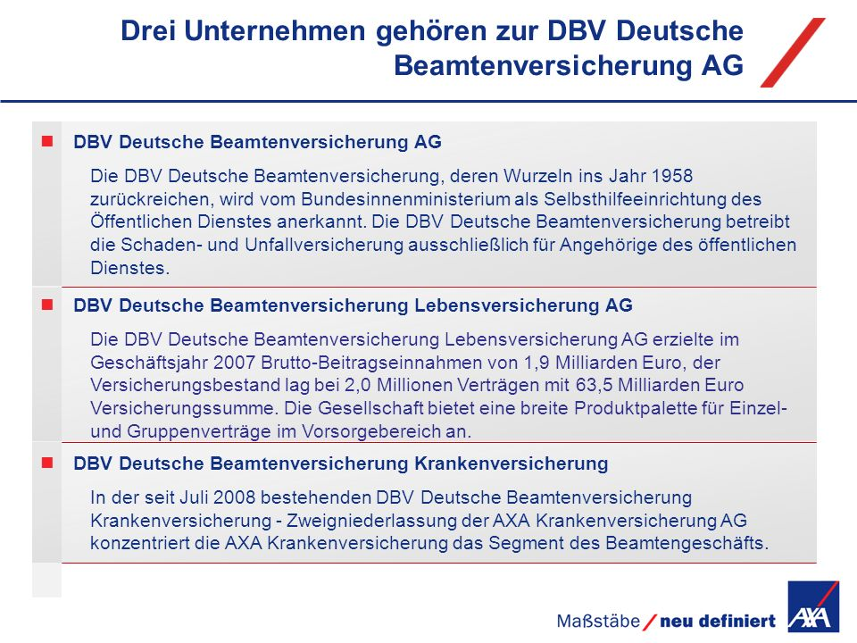 Drei Unternehmen gehören zur DBV Deutsche Beamtenversicherung AG