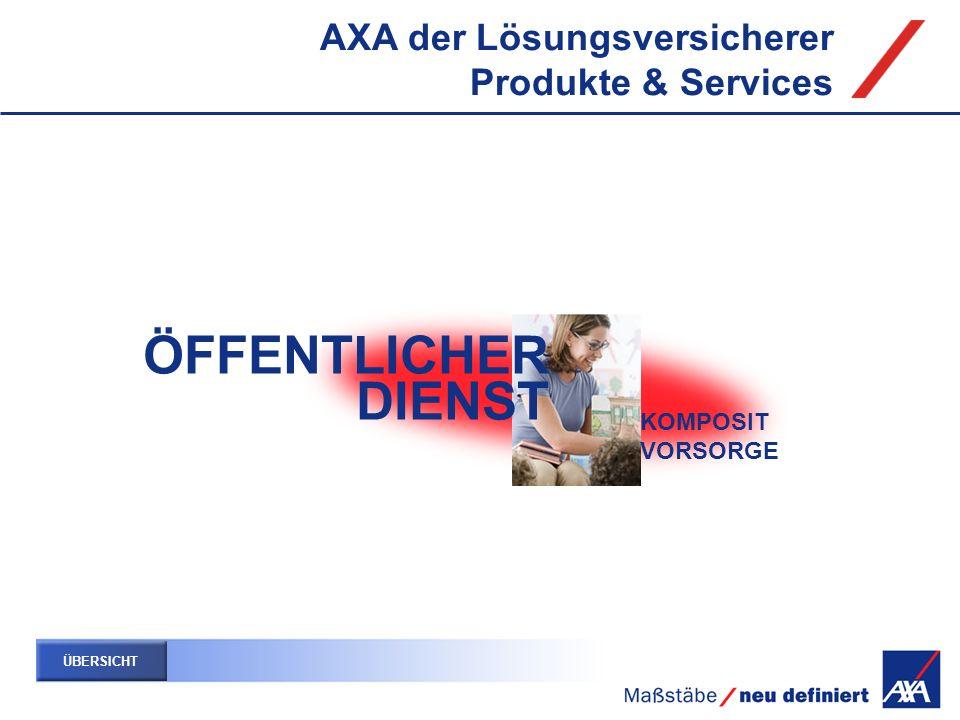 ÖFFENTLICHER DIENST AXA der Lösungsversicherer Produkte & Services