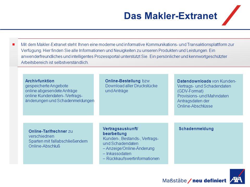 Das Makler-Extranet Mit dem Makler-Extranet steht Ihnen eine moderne und informative Kommunikations- und Transaktionsplattform zur.