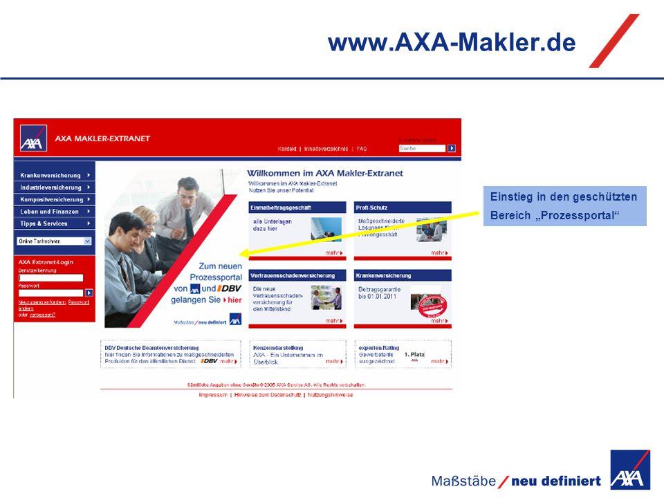 """www.AXA-Makler.de Einstieg in den geschützten Bereich """"Prozessportal"""