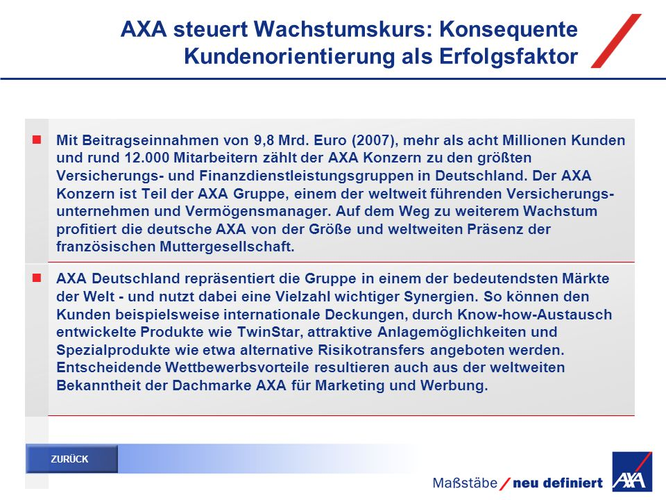AXA steuert Wachstumskurs: Konsequente Kundenorientierung als Erfolgsfaktor