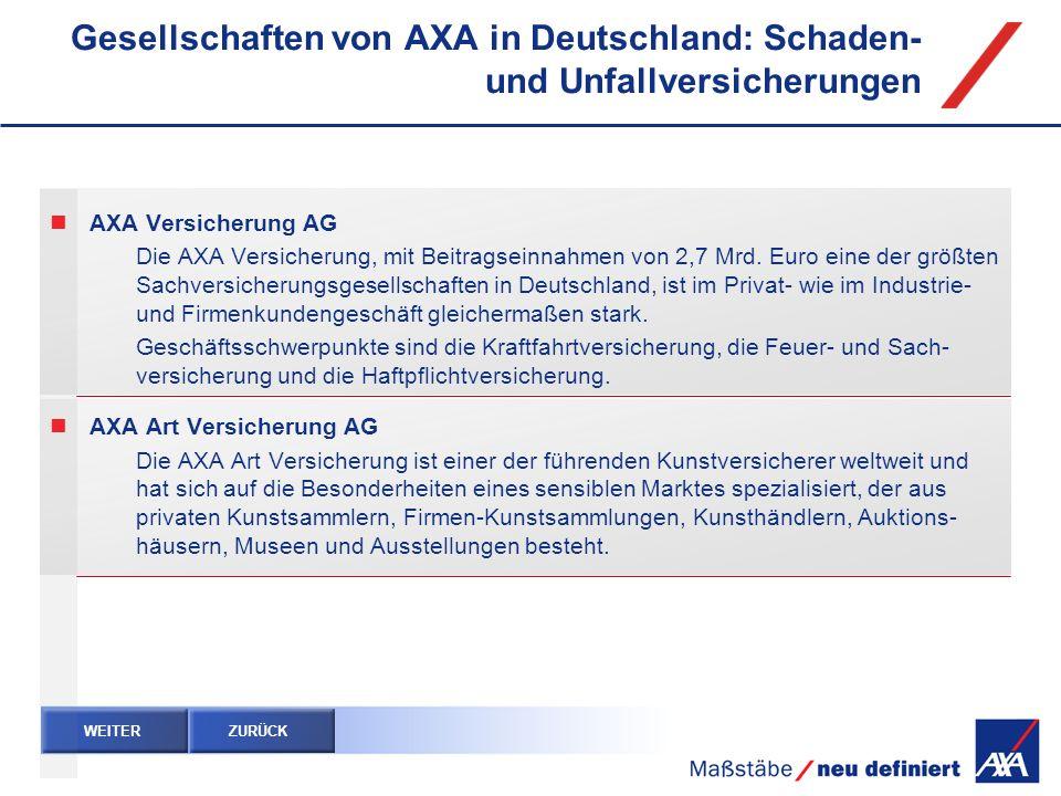 Gesellschaften von AXA in Deutschland: Schaden- und Unfallversicherungen