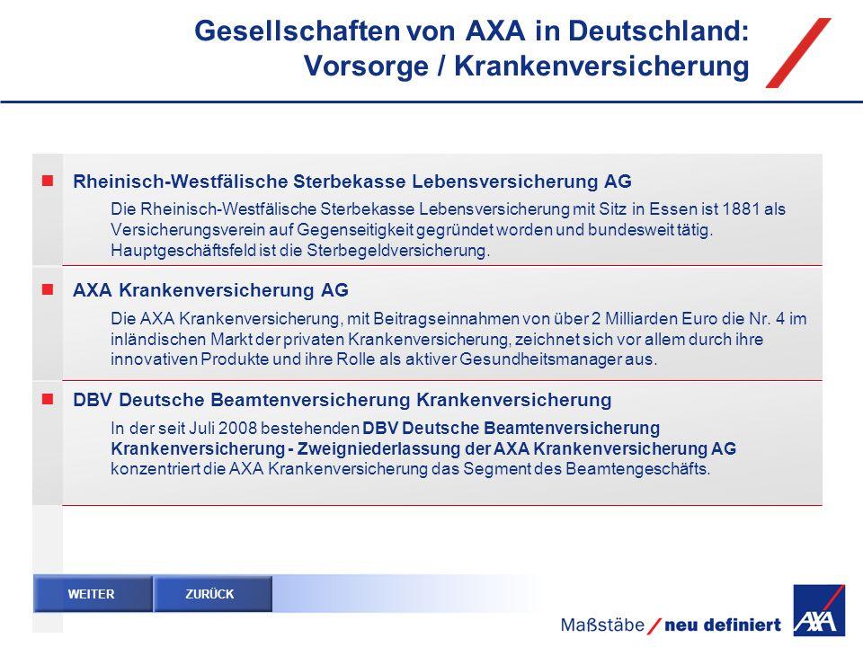 Gesellschaften von AXA in Deutschland: Vorsorge / Krankenversicherung