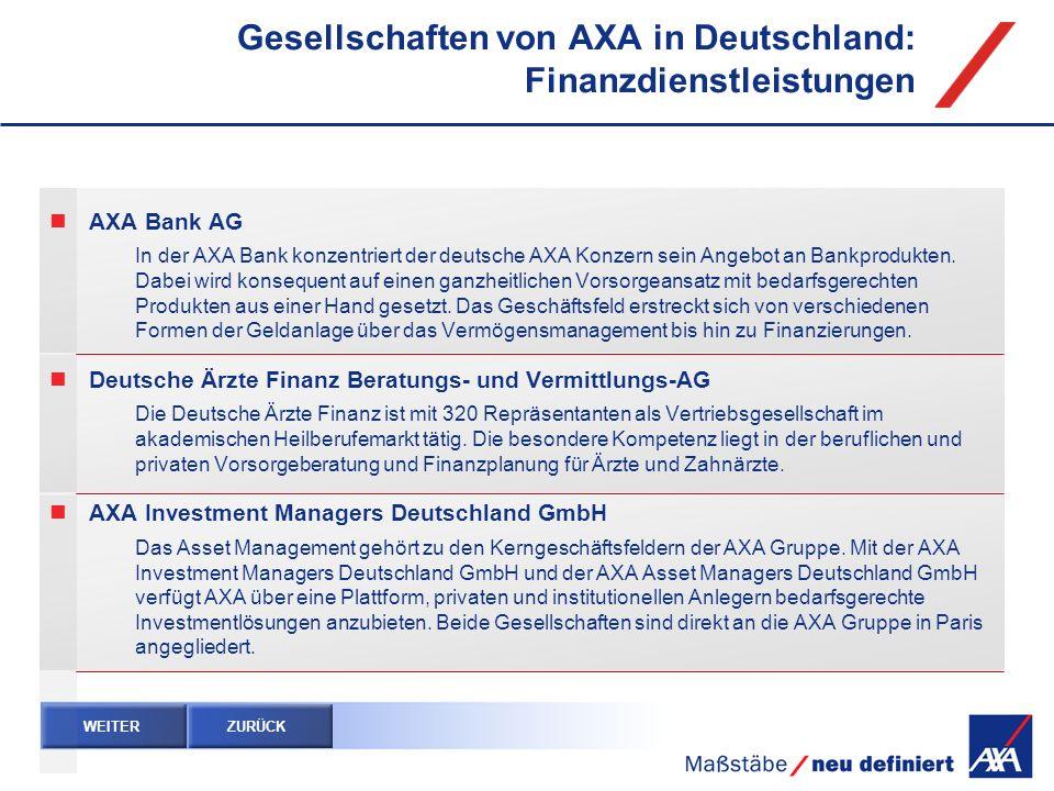 Gesellschaften von AXA in Deutschland: Finanzdienstleistungen